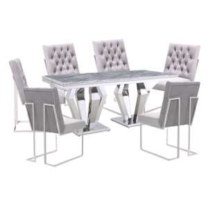 Valentino Grey Marble Dining Set With 6 Grey Dino Chairs