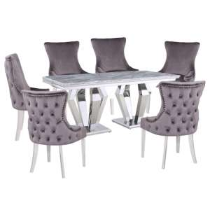 Valentino Grey Marble Dining Set With 6 Grey Leo Chairs