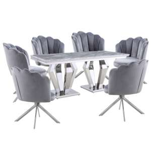 Valentino Grey Marble Dining Set With 6 Grey Mario Chairs