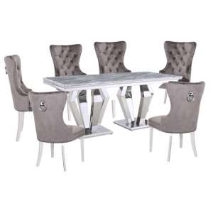 Valentino Grey Marble Dining Set With 6 Grey Oxford Chairs