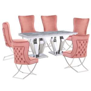 Valentino Grey Marble Dining Set With 6 Pink Cavalli Chairs