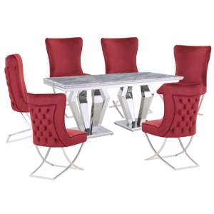 Valentino Grey Marble Dining Set With 6 Red Cavalli Chairs