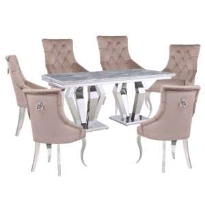 Valentino Grey Marble Dining Set With 6 Taupe Angelo Chairs