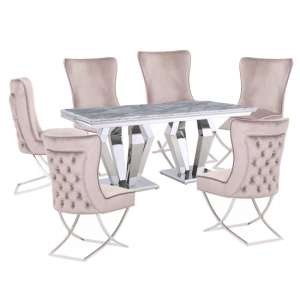 Valentino Grey Marble Dining Set With 6 Taupe Cavalli Chairs