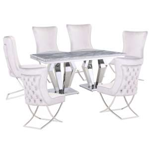 Valentino Grey Marble Dining Set With 6 White Cavalli Chairs
