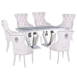 Valentino Grey Marble Dining Set With 6 White Madison Chairs