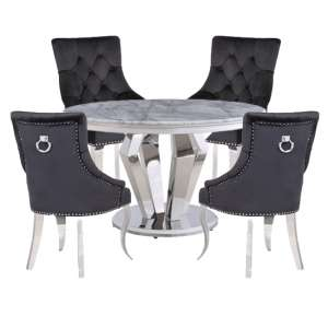 Valentino Marble Dining Set With 4 Angelo Black Chairs