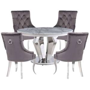 Valentino Marble Dining Set With 4 Angelo Grey Chairs