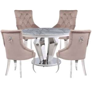 Valentino Marble Dining Set With 4 Angelo Taupe Chairs