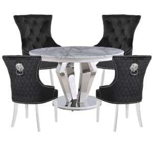 Valentino Marble Dining Set With 4 Madison Black Chairs