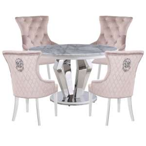 Valentino Marble Dining Set With 4 Madison Taupe Chairs