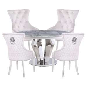 Valentino Marble Dining Set With 4 Madison White Chairs
