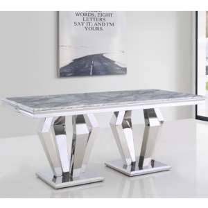 Valentino Rectangular Marble Dining Table In Silver