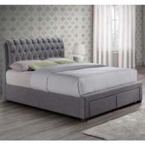 Valentino Fabric King Size Bed In Grey With 2 Drawers