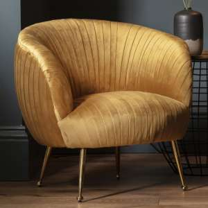Valenza Velvet Upholstered Tub Chair In Gold