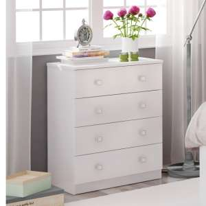 Valerie Chest Of Drawers In White With 4 Drawers