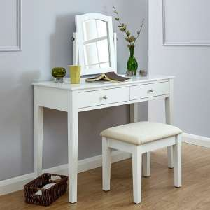 Valerio Wooden Dressing Table Set In White