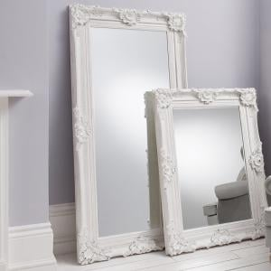 Valley Floor Mirror Rectangular Leaner In White