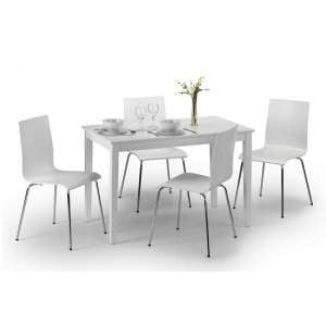 Vanita Modern Dining Table In White Lacquer With 4 Alice Chairs