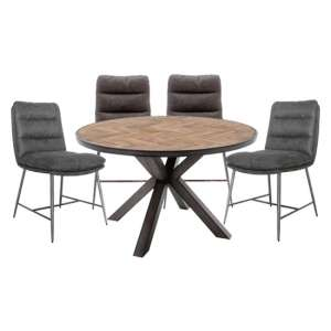 Vanya Round Dining Set In Light Brown With 4 Romy Chairs