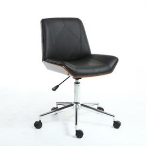 Varley Home Office Chair In Black PU And Walnut With Castors