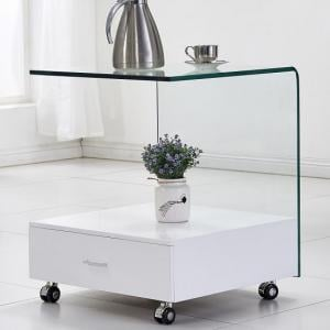 Vasari Glass Lamp Table In Clear With High Gloss White Drawer