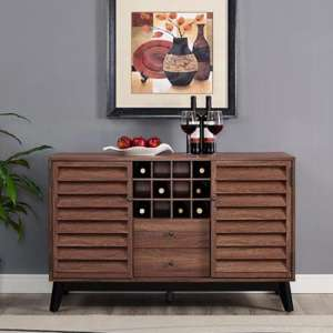 Vaughn Wooden Wine Cabinet In Walnut