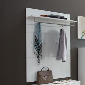 Vector Wall Mounted Coat Rack Panel In White With Glass Fronts
