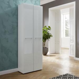 Vector Hallway Wardrobe In White With Glass Fronts