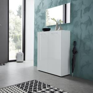 Vector Shoe Cabinet With Wall Mirror In White And Glass Fronts
