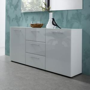 Vector Modern Sideboard In White With Glass Fronts