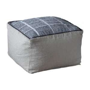 Vega Fabric Upholstered Square Pouffe In Grey