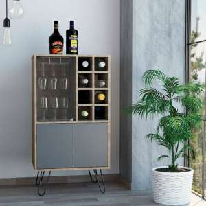 Vegas Wooden Wine Cabinet In Bleached Oak And Grey With 2 Doors