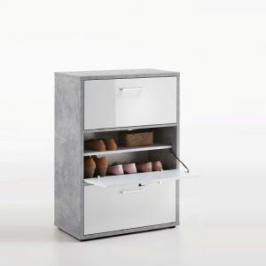 Veleso Shoe Cabinet In White High Gloss And Light Atelier