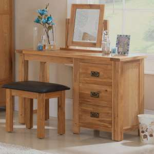 Velum Wooden 3Pc Dressing Table Set In Chunky Solid Oak