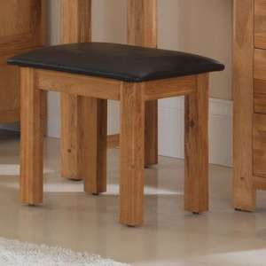 Velum Wooden Dressing Table Stool In Chunky Solid Oak