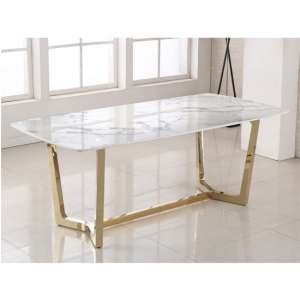 Veneta Rectangular White Marble Dining Table With Gold Legs