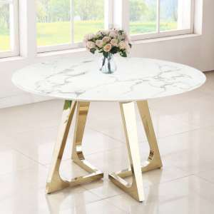 Veneta Round White Marble Dining Table With Gold Legs