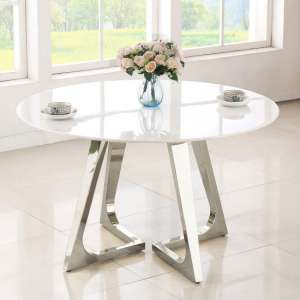Veneta Round White Marble Dining Table With Silver Legs