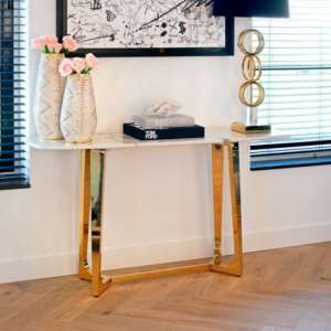Veneta White Marble Console Table With Gold Steel Legs