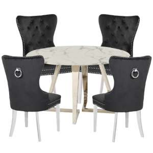 Veneta White Marble Dining Set With 4 Oxford Black Chairs