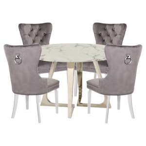 Veneta White Marble Dining Set With 4 Oxford Grey Chairs