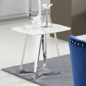 Veneta White Marble Side Table With Silver Stainless Steel Legs