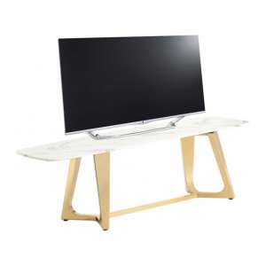 Veneta White Marble TV Stand With Gold Stainless Steel Legs