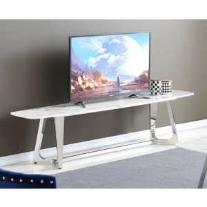 Veneta White Marble TV Stand With Silver Stainless Steel Legs