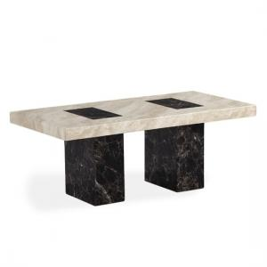 Venetian Marble Effect Coffee Table In Dark And Cream