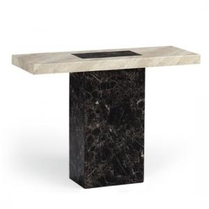 Venetian Wooden Marble Effect Console Table In Dark And Cream