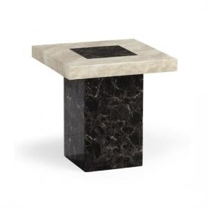 Venetian Wooden Marble Effect Lamp Table In Dark And Cream