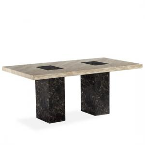 Venetian Marble Effect Dining Table In Dark And Cream
