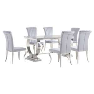 Venica Grey Marble Dining Table With 6 Liyam Grey Chairs